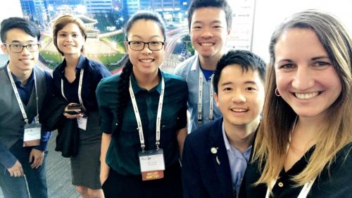 Members of the International Pharmaceutical Students' Federation at the FIP World Congress. Pictured from left to right: Colin Situ (New Zealand), Ashma Nepal (Nepal), Naomi Lee (New Zealand), Jason So (New Zealand), Brian Wong (New Zealand), Valerie Nolt (United States of America).